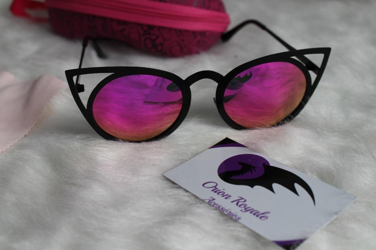 b9aa10951d78a Oculos De Sol Feminino Cat Eye Espelhado Roxo - R  89,99 em Mercado ...