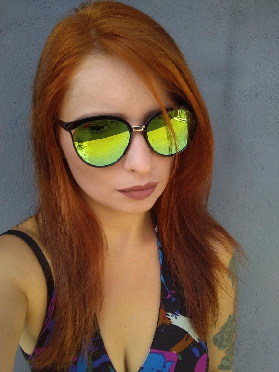 359f659fc oculos de sol feminino cat eye verde claro espelhado. Carregando zoom.