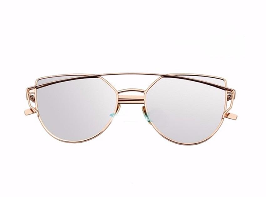 óculos de sol feminino dourado com lente cinza espelhado. Carregando zoom. 87f1aeb2f1