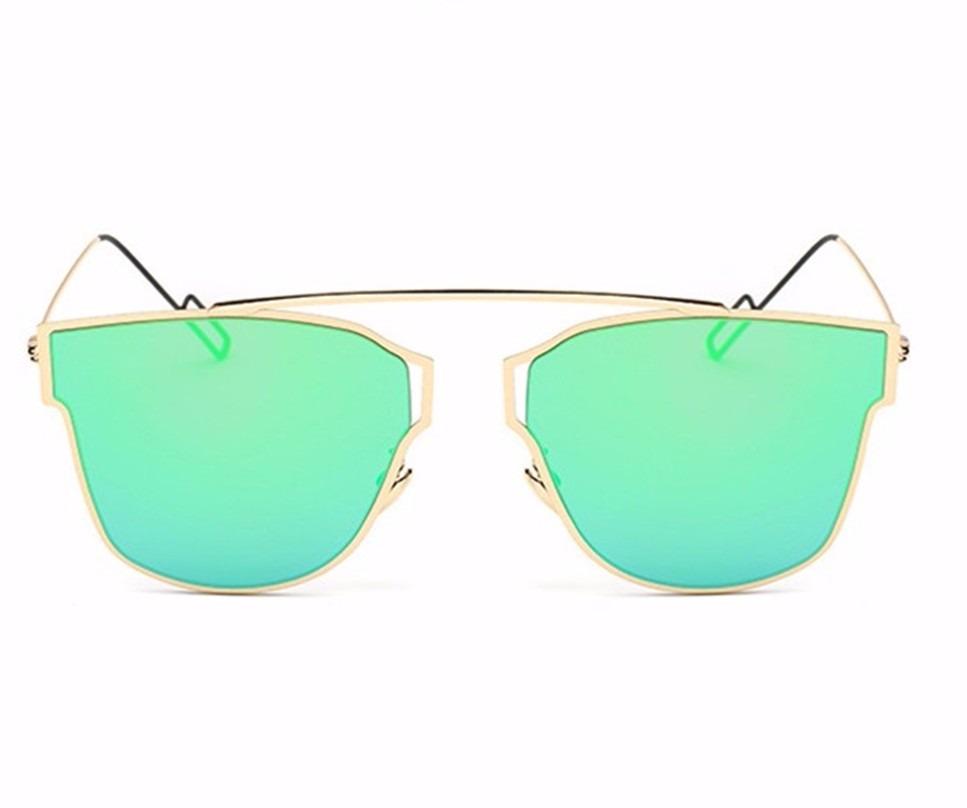 óculos de sol feminino dourado com lente verde espelhada. Carregando zoom. 8c2837c50a