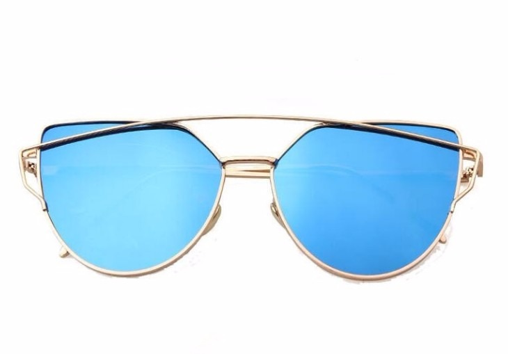 3ac94eefa9273 Óculos De Sol Feminino Dourado Lente Azul Espelhado Mulher - R  80 ...