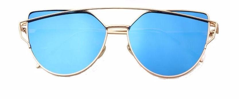 89d2346cc80c1 óculos de sol feminino dourado mulher azul espelhado. Carregando zoom.