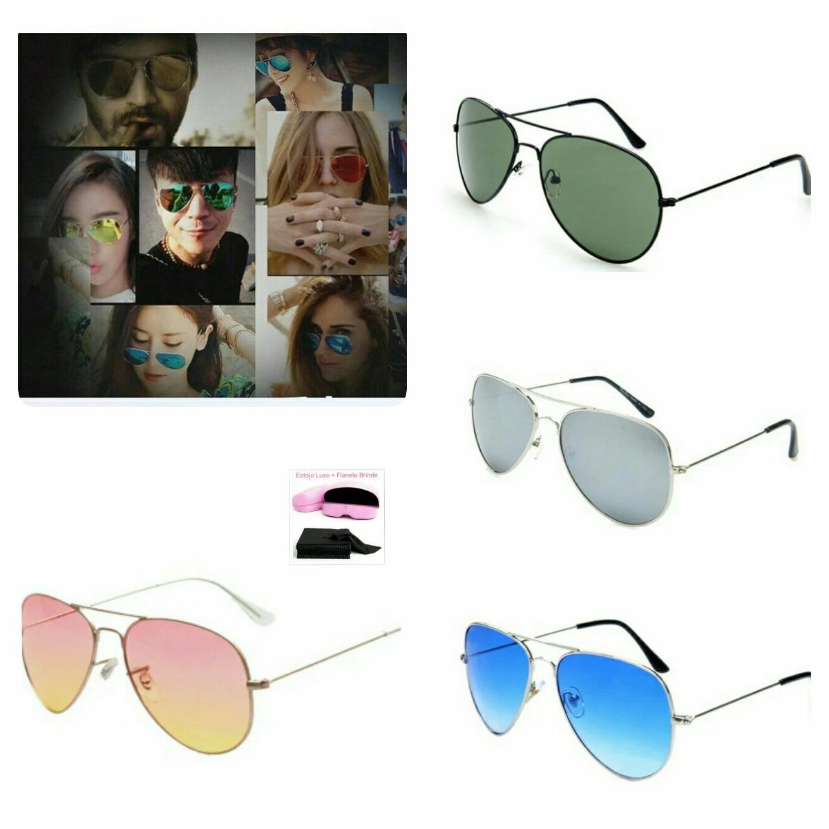 óculos de sol feminino espelhado aviador c  estojo e flanela. Carregando  zoom. 707532152a