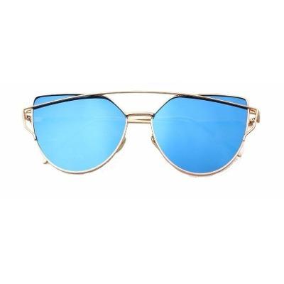 b8f7f7e51abe8 Óculos De Sol Feminino Espelhado Azul Mulher Dourado - R  67