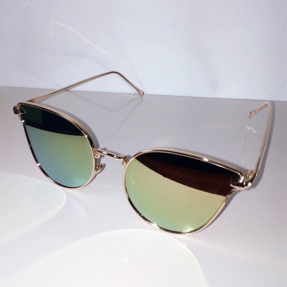 óculos de sol feminino espelhado dourado metal olho de gato. Carregando  zoom. 03c90cbbc7