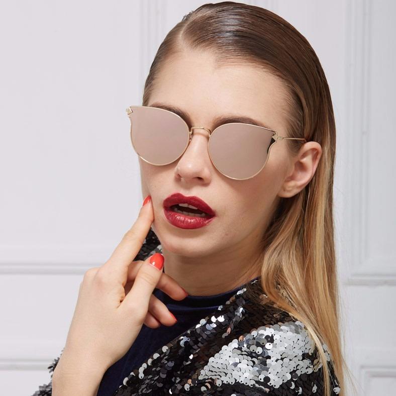 31622c9ef Óculos De Sol Feminino Espelhado Gato Gatinho Drop Redondo - R$ 69 ...