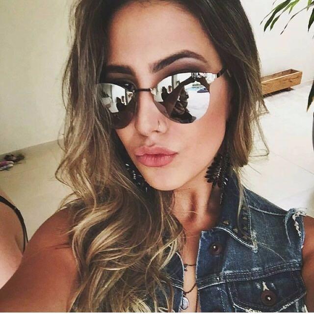 be63b43d6 Óculos De Sol Feminino Espelhado Iridia Prata Gatinho - R$ 69,99 em ...