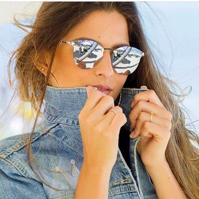 9fc3497151d71 Óculos De Sol Feminino Espelhado Iridia Prata Gatinho - R  69