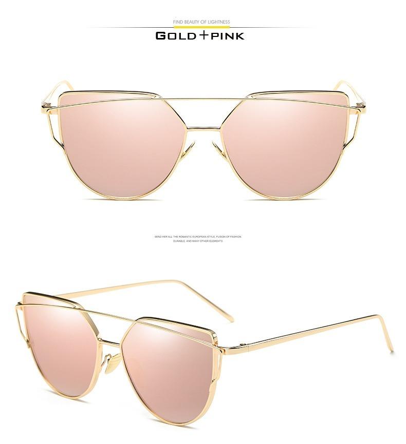 óculos de sol feminino gatinho espelhado rosa e dourado. Carregando zoom. 45d6d6f488