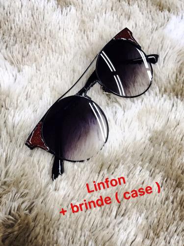 óculos de sol feminino gatinho meio quadrado e redonda+brind