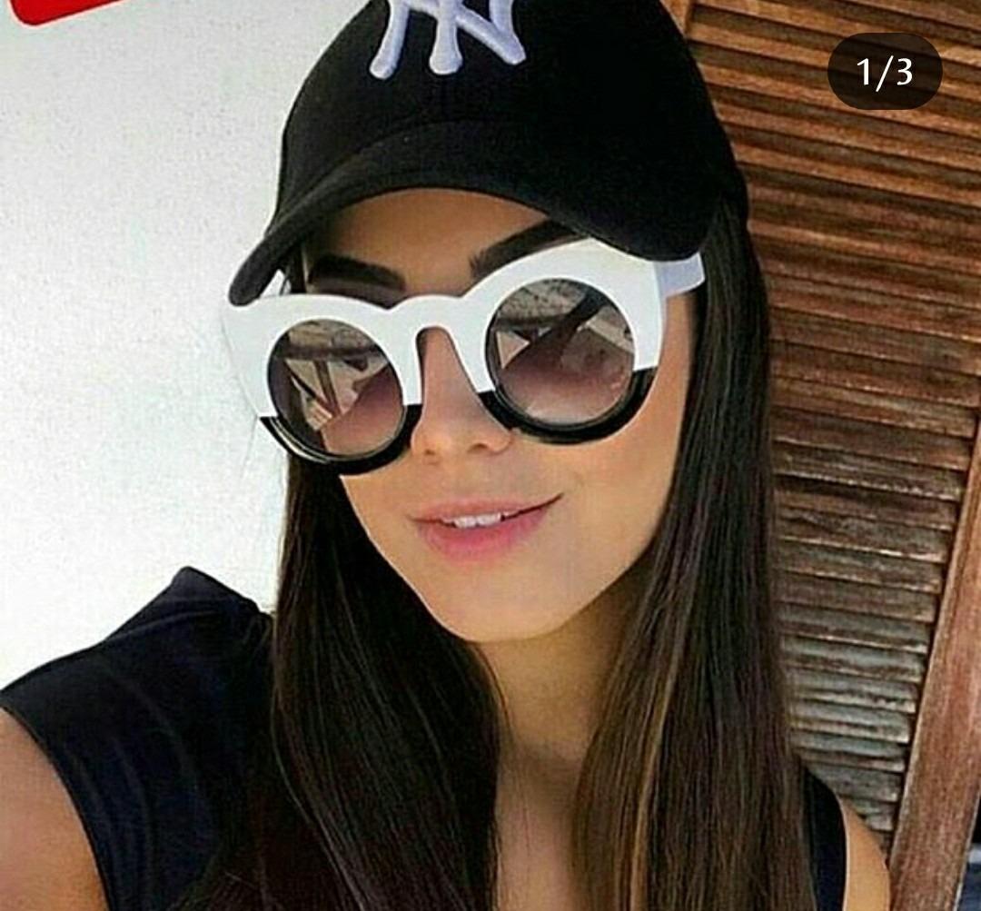 35cb3036b91b9 óculos de sol feminino gatinho preto branco lindo + caixinha. Carregando  zoom.