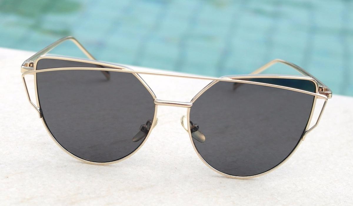 óculos de sol feminino gatinho preto dourado gold luxo case. Carregando  zoom. a175b7ef10