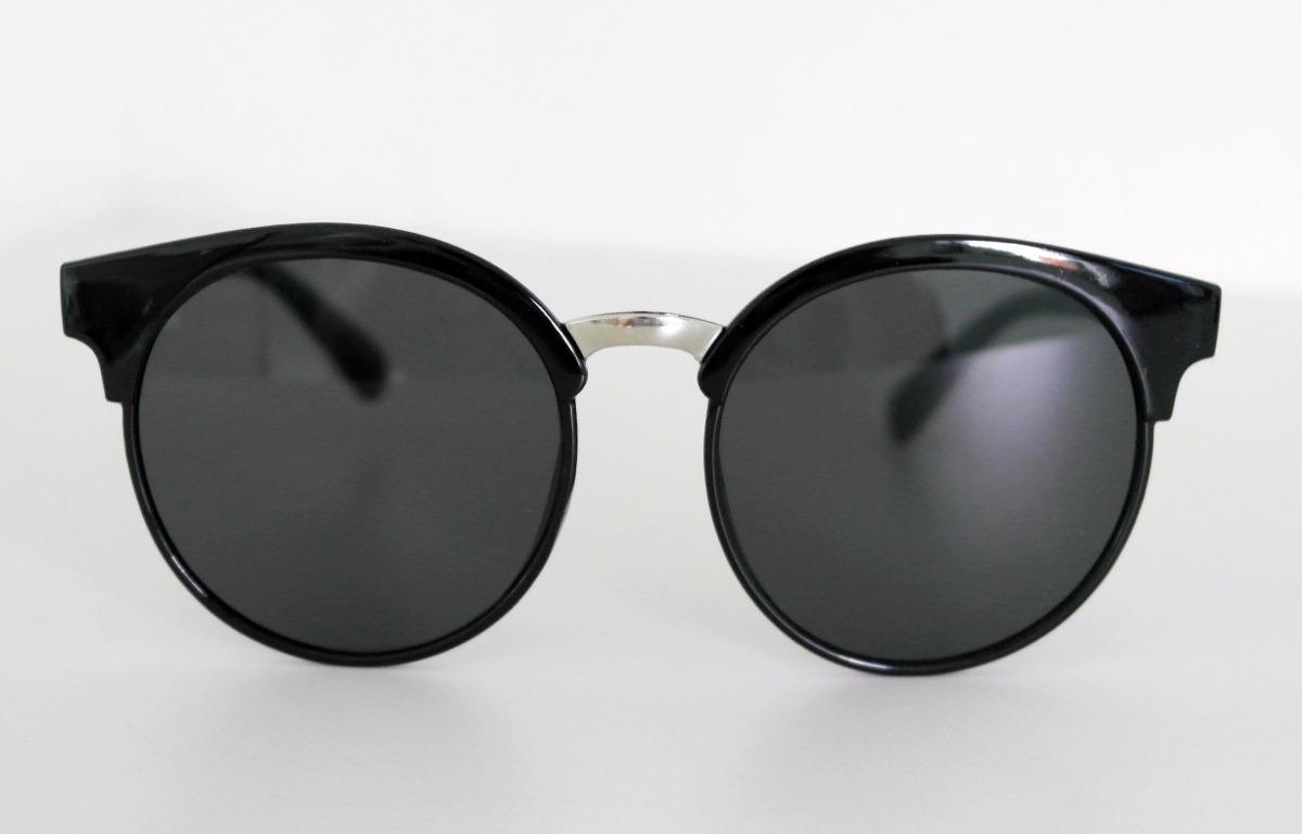 óculos de sol feminino gatinho redondo round preto + case. Carregando zoom. e3aa7c017b