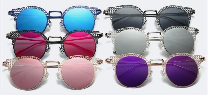 9988619fdbe59 óculos de sol feminino gatinho vazado redondo espelhado. Carregando zoom.
