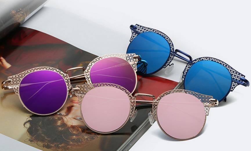 9a546871c6902 óculos de sol feminino gatinho vazado redondo espelhado. Carregando zoom.