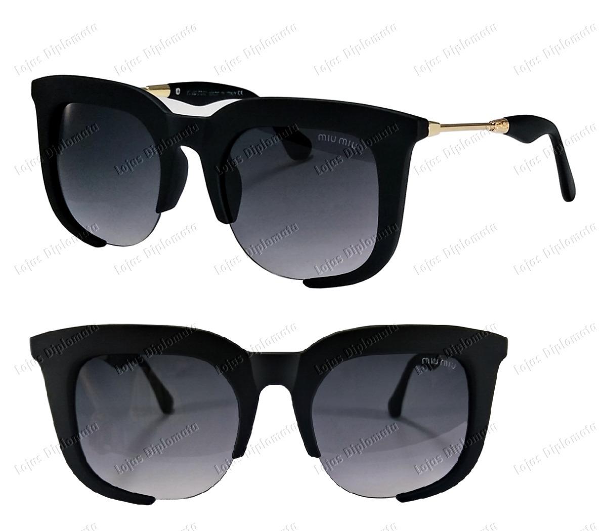 6ba3a904ed8f2 Oculos De Sol Feminino Grande Gatinha Miu + Round Hexagonal - R  118 ...