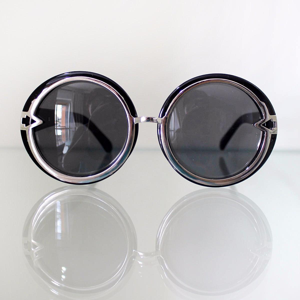 óculos de sol feminino grande oversized redondo preto. Carregando zoom. 5f9eba454d