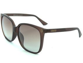 f9a7d8c62 Óculos De Sol Feminino Gucci Quadrado Marrom Proteção Uv400
