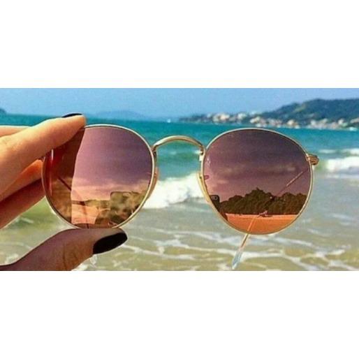 Óculos De Sol Feminino Lentes Rosa azul, Semi-redondo Uv400 - R  65 ... 4f553be2de