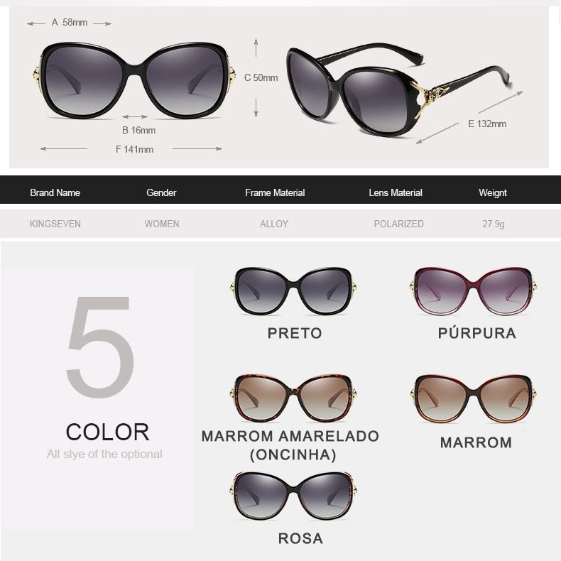 b18699644 Óculos De Sol Feminino Leopardo Polarizado Uv400 Original - R$ 118 ...