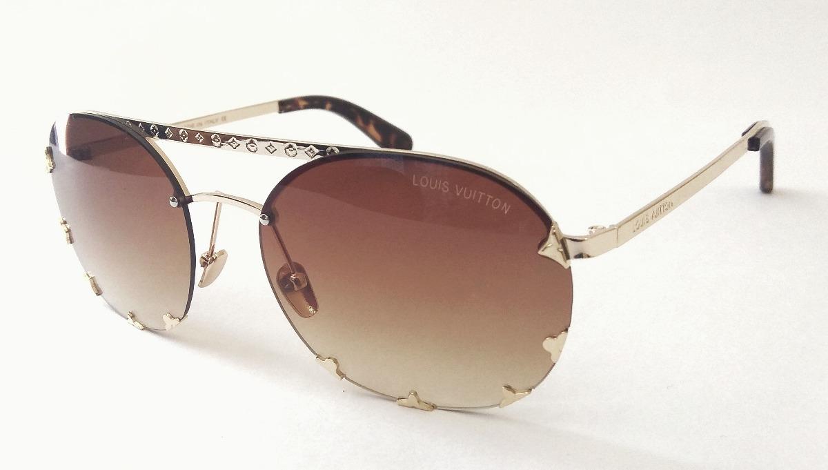 óculos de sol feminino louis v lv redondo dourado importado. Carregando  zoom. 6c89c50ca1