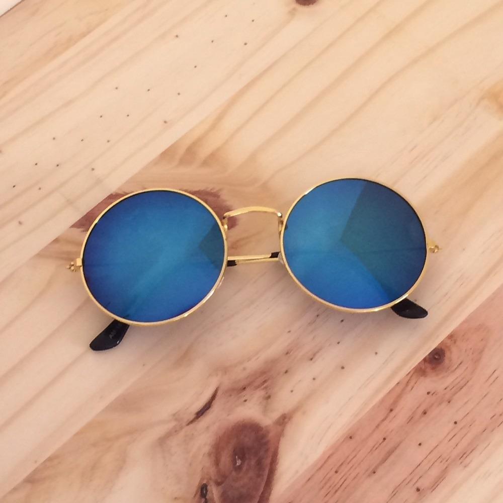 9b48a50f884d2 óculos de sol feminino masculino redondo espelhado azul. Carregando zoom.