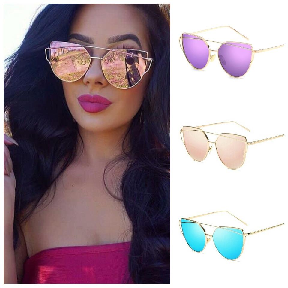 92718872f óculos de sol feminino olho de gato espelhado rose e cores. Carregando zoom.