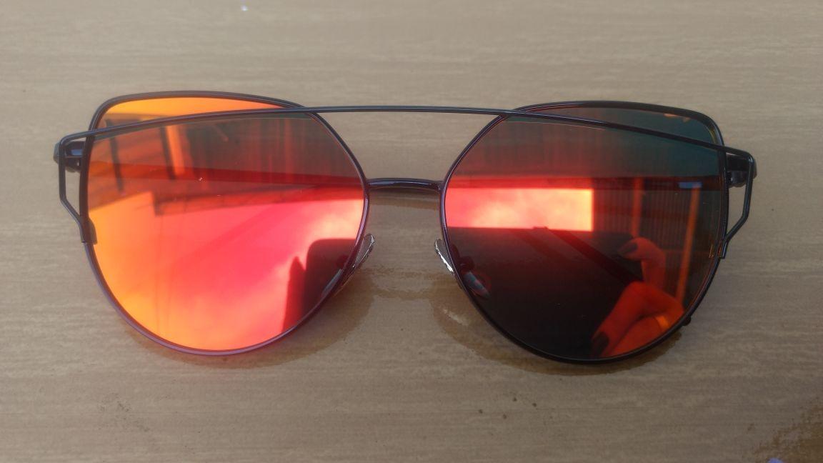 Oculos De Sol Feminino Olho De Gato Vermelho Espelhado - R  69,99 em ... e4fc9f08cc