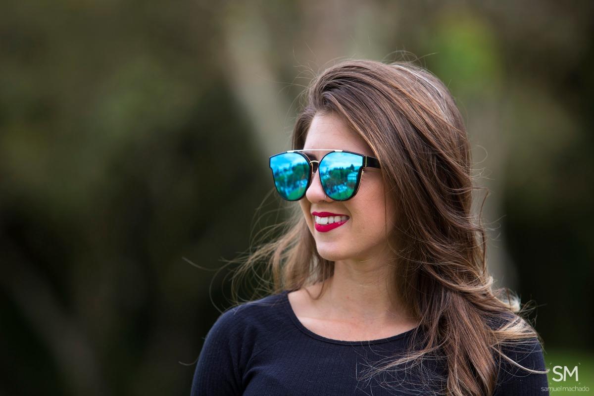 cd30d8d6926ef Óculos De Sol Feminino Original Espelhado Azul Claro - R  79,90 em ...