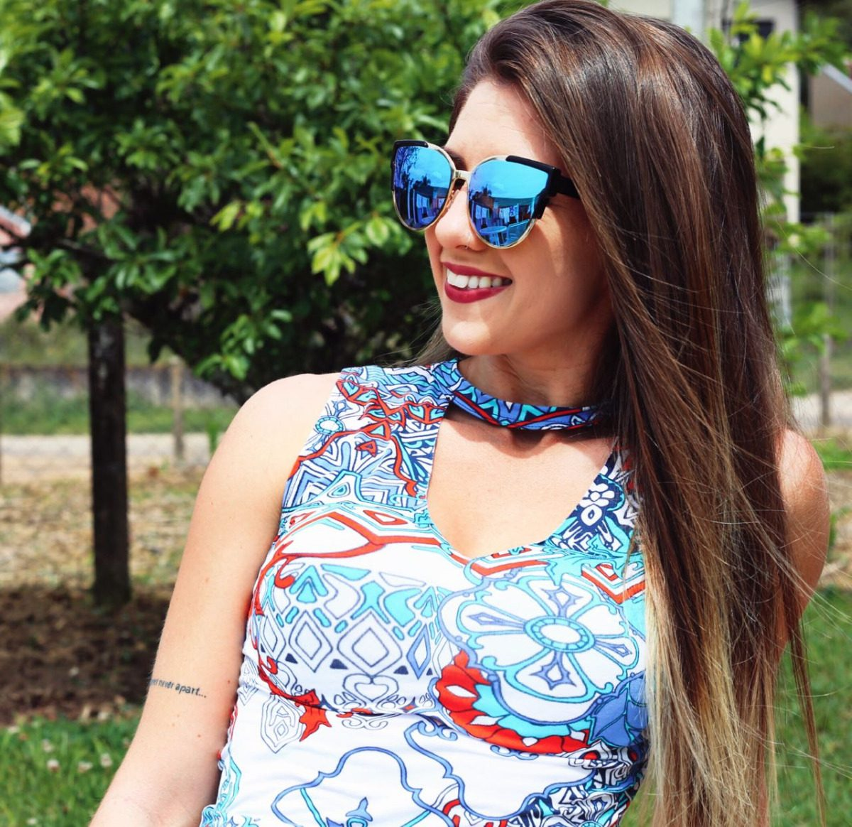 e4c0085f8 óculos de sol feminino original gatinho espelhado azul barat. Carregando  zoom.