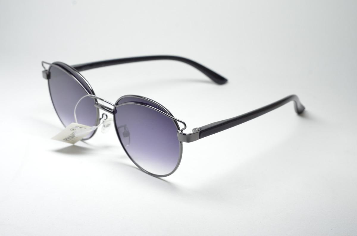 56c0f993d óculos de sol feminino preto redondo proteção uv400 metal. Carregando zoom.