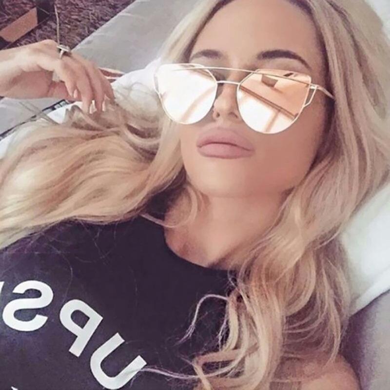 12ee816698bf0 óculos de sol feminino proteção uv400 espelhado rose lindo. Carregando zoom.