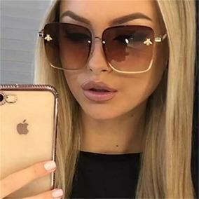 85771a5a7 Óculos De Sol Feminino Quadrado Grande Degradê Luxo 2019 G3