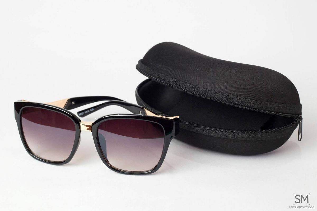 67c777ee47a38 Óculos De Sol Feminino Quadrado Preto Degradê Original - R  98,00 em ...