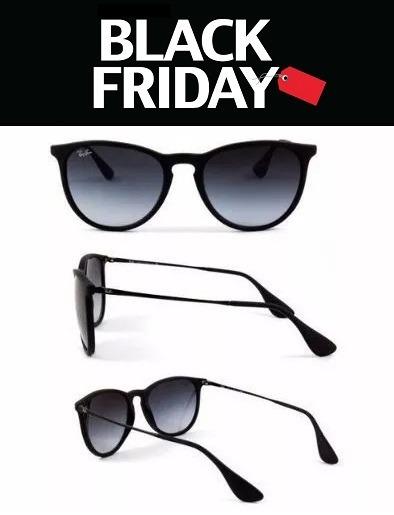 Oculos De Sol Feminino Ray Ban Erika Rb4171 Preto Fosco - R  123,80 ... e12cfcc1a6