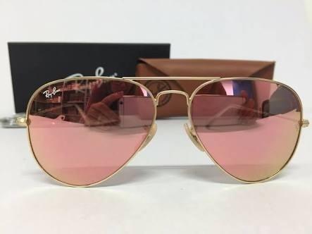 439e7cc3b Oculos De Sol Feminino Rayban Aviador Rosê Espelhado - R$ 79,99 em ...