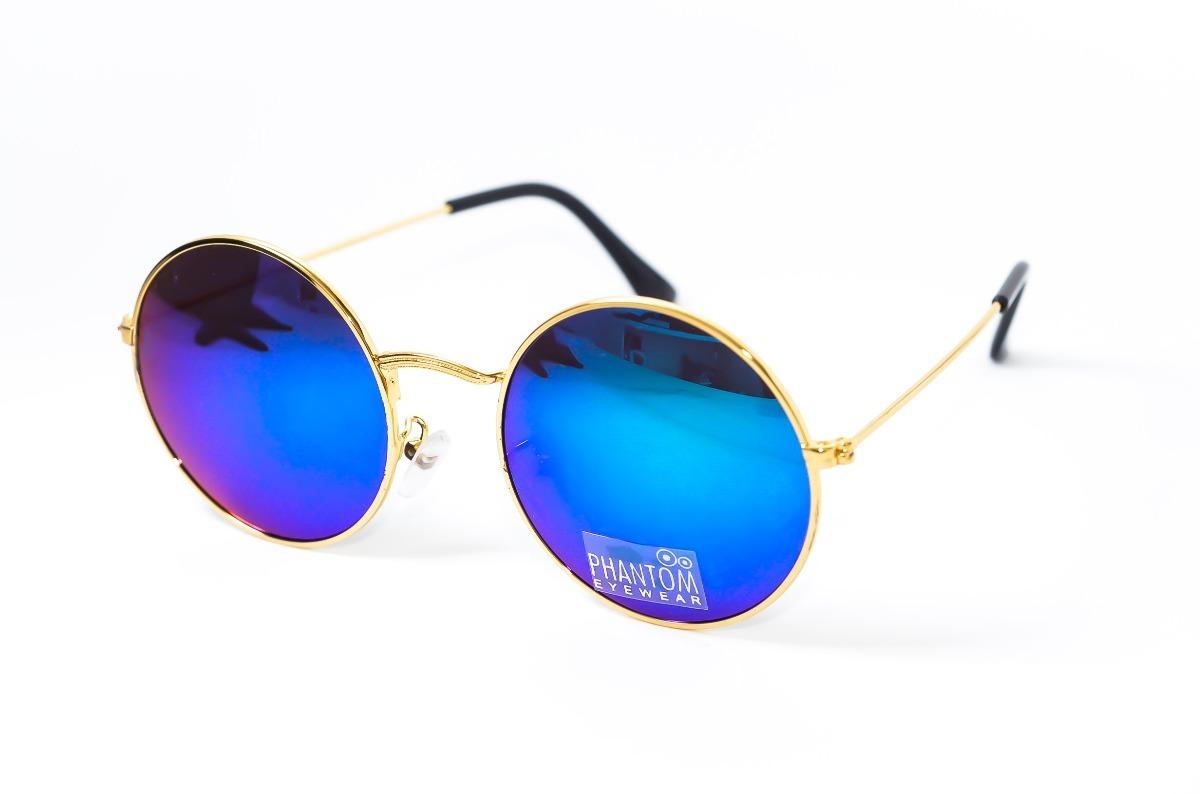 oculos de sol feminino redondo dourado espelhado azul hippie. Carregando  zoom. c738641051