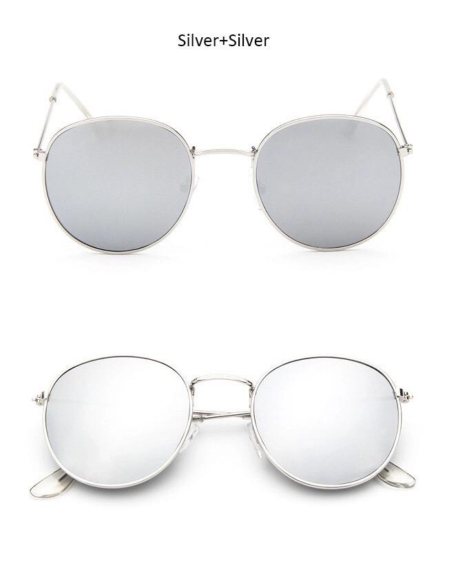 4a951d7cd1b2f Óculos De Sol Feminino Redondo Espelhado Prata - R  30,00 em Mercado ...