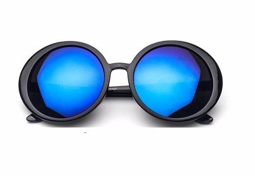 f323f8717c310 Oculos De Sol Feminino Redondo Espelhado Prata Uv Grande Kim - R  37 ...