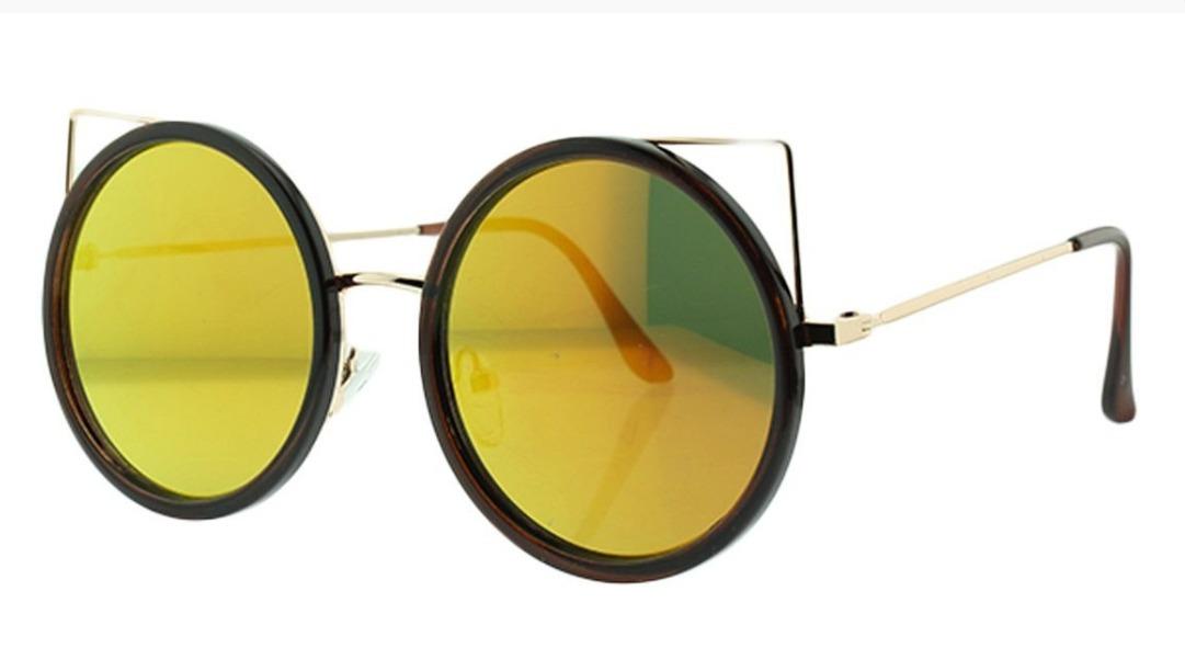 1b1ca5e286013 Óculos De Sol Feminino Redondo Gatinho Espelhado - R  79,90 em ...