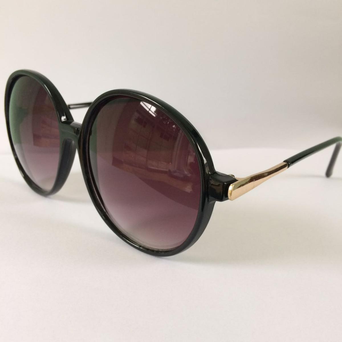 Óculos De Sol Feminino Redondo Grande Proteção Uv400 - R  30,00 em ... 03a2d1af37