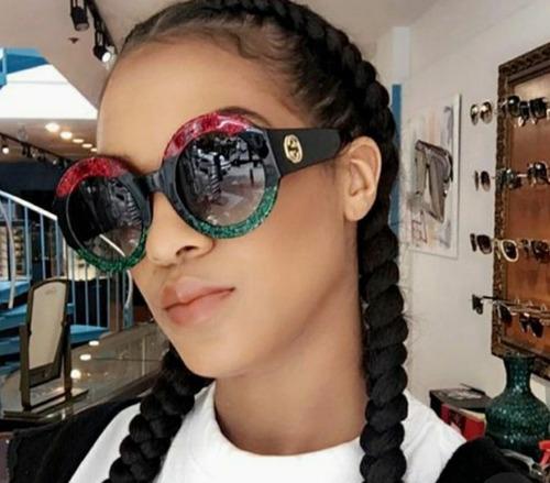 óculos de sol feminino redondo marca famosa preto importado