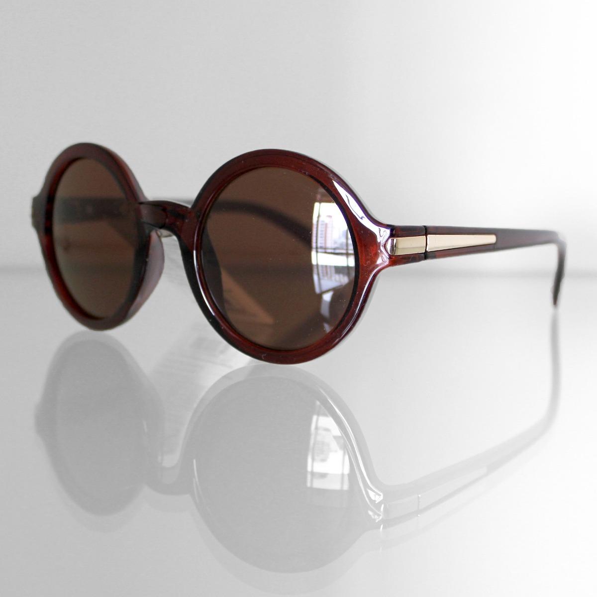 Óculos De Sol Feminino Redondo Marrom Fashion Moderno - R  37,90 em ... b35be0ec18