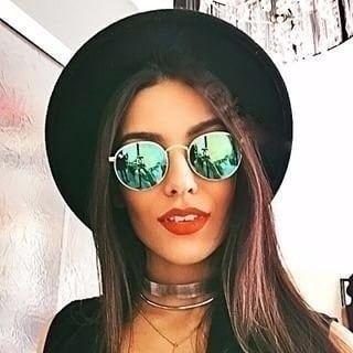 óculos de sol feminino redondo round dourado espelhado