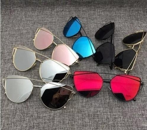 3d62d9eb3f404 Oculos De Sol Feminino Starlight Espelhado Gato Retrô Barato - R  60 ...