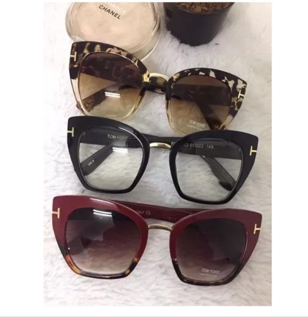 ebb33d2f4e767 Óculos De Sol Feminino Tom Ford Gatinho Frete Grátis + Case - R  120 ...