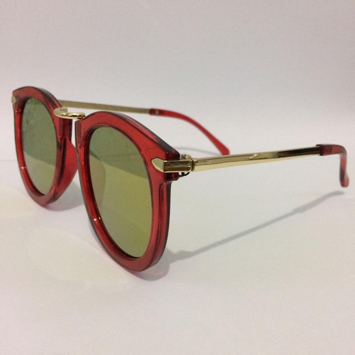 c7640d157 Óculos De Sol Feminino Vermelho Redondo Espelhado Vintage - R$ 25,00 em  Mercado Livre