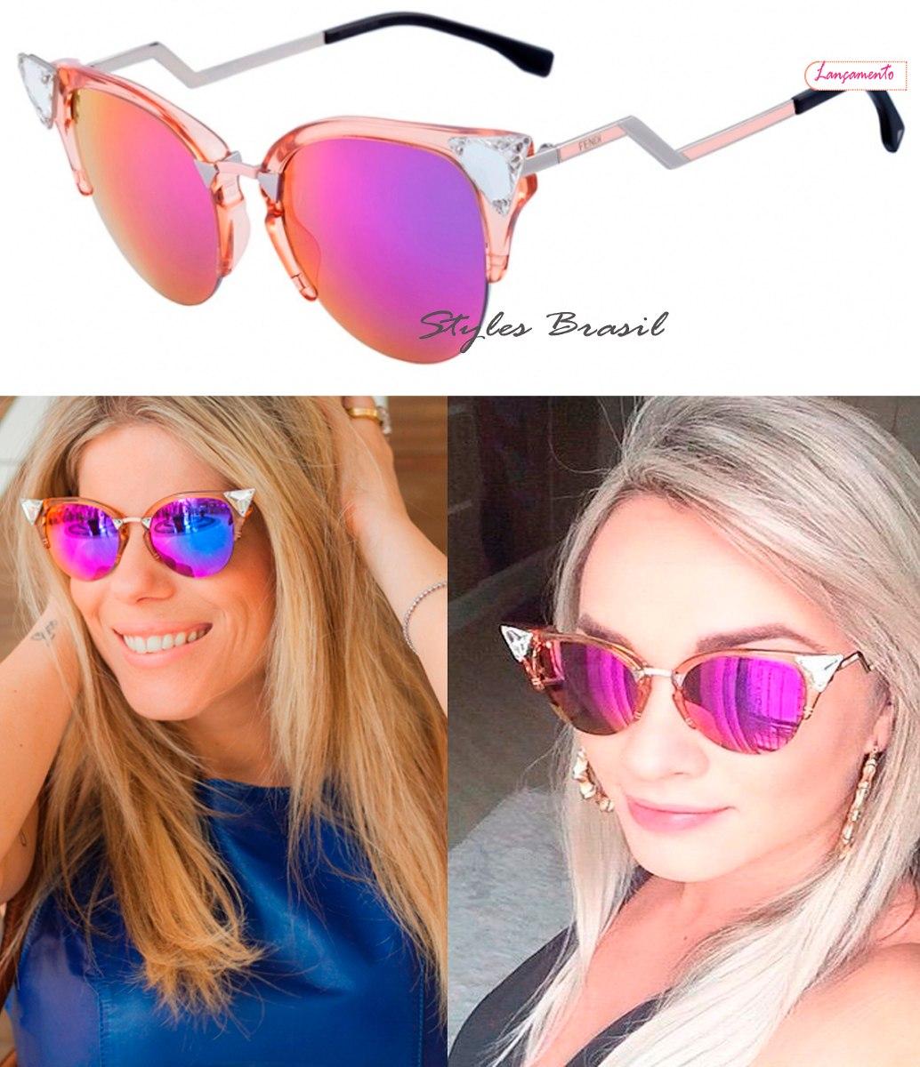 cf62e2be689ed Oculos De Sol Fendi Estilo Gatinho Ff042 Cores + Frete Free - R  399 ...