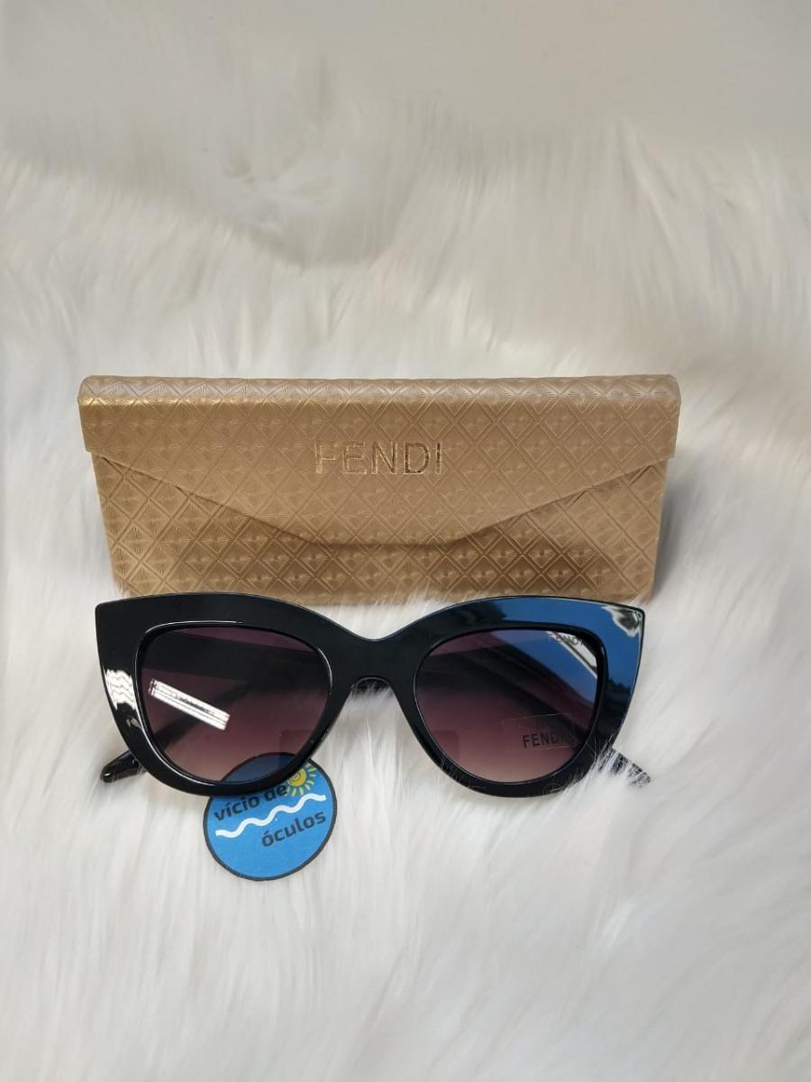 1f805c510f942 óculos de sol fendi gatinho retro preto proteção uv. Carregando zoom.