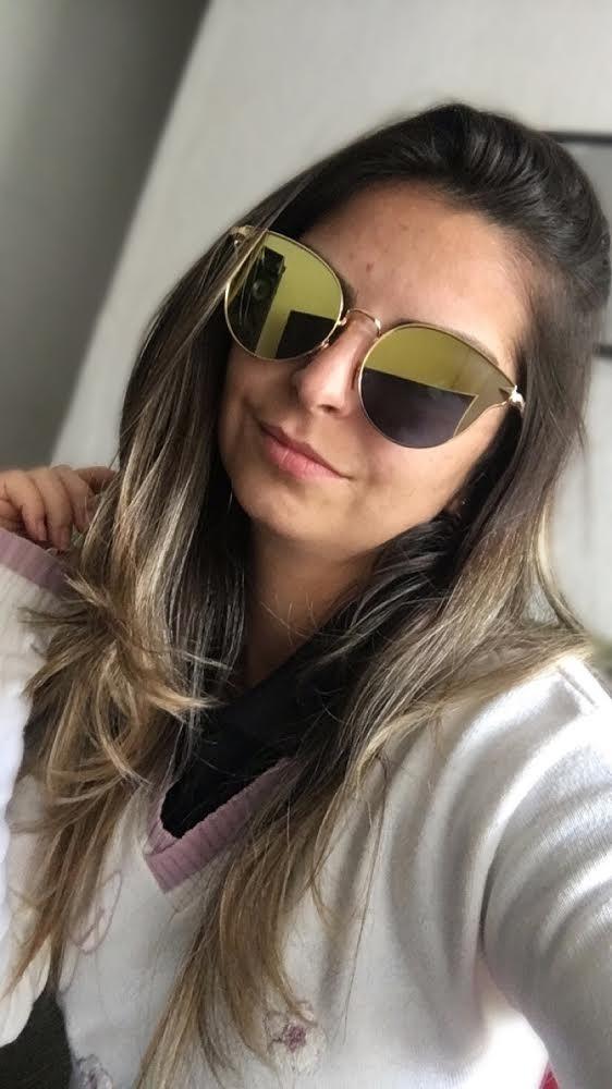 f476ef02a74b8 Óculos De Sol Gatinha Espelhado Vintage Geek Moda - R  34,15 em ...